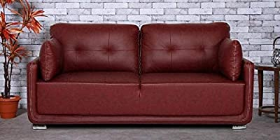 Monaco Three Seater Sofa in Cherry Brown Leatherette by Jfwoods