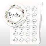 96 Pegatinas Gracias para Boda Boho, etiquetas adhesivas de 4 cm de diámetro, regalos boda (Gracias 3)