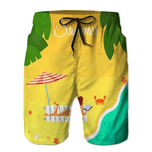 jiilwkie 3D Graphic Herren Sommer Schwimmen Funny Beach Board Shorts Seestück sexy Mädchen Strand Sommer Banner rot Badeanzug Sonnenbäder unter gestreiften Regenschirm Sand Seekrabbe Bunt XXL