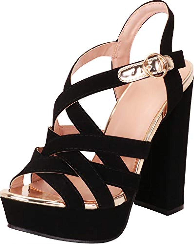 Cambridge Select Women's Open Toe Crisscross Strappy Chunky Platform Extra High Block Heel Sandal