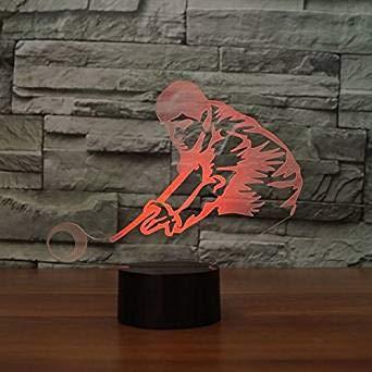 3D Illusion Jugar al billar Lámpara luces de la noche ajustable 7 colores LED Creative Interruptor táctil estéreo visual atmósfera mesa regalo para Navidad