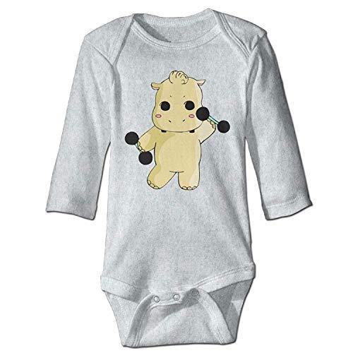 Unisex Newborn Bodysuits Hippo Boys Babysuit Long Sleeve Jumpsuit Sunsuit Outfit Ash