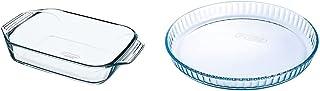 Pyrex - Irresistible - Plat à Four Rectangulaire en Verre, 39 x 25 cm & 1040909 Bake & Enjoy Moule à Tarte en verre Ø 31 cm