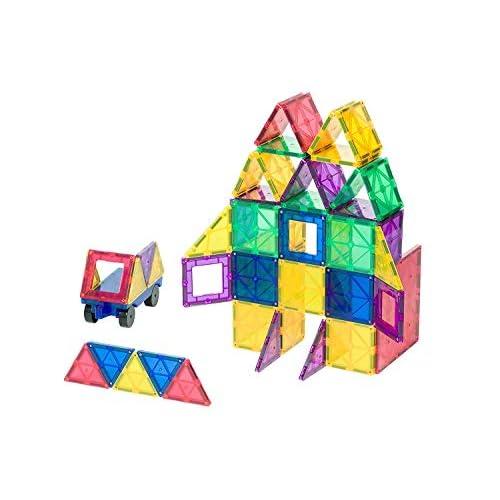 Playmags Set da 50 Pezzi Ora con Magneti più Forti, Robusti, Super Resistenti con Tessere Chiare e Vivaci