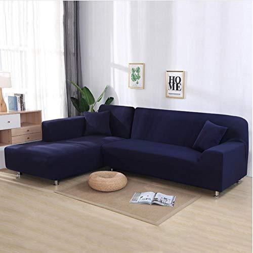 Sofa-plaid sofa afdekking sofaovertrek 2 stuks covers voor hoekbank L-vormige sofa woonkamer snit chaise longue sofa hoes hoek donkerblauw