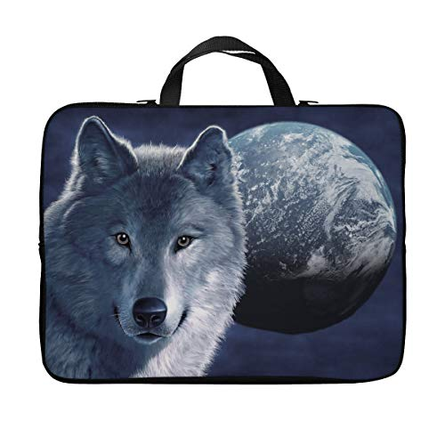 Britimes Laptop Case Protection Bag, Cool Wolf Face Moon Night Horror Evil Beast Mystical Sky Spooky Wildlife 11 12 13 inch Neoprene PC Computer Sleeve Waterproof Notebook Handle Carrying Bag