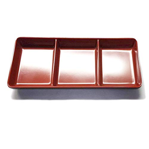 JapanBargain 2394, Plastic Soy Sauce Dish Dipping Bowl Three Compartments for Ketchup BBQ Sauce or Seasoning Japanese Style Black and Red Color