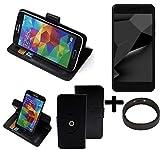 K-S-Trade® Case Schutz Hülle Für Blaupunkt SL Plus 02 + Bumper Handyhülle Flipcase Smartphone Cover Handy Schutz Tasche Walletcase Schwarz (1x)