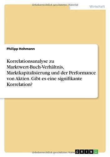 Korrelationsanalyse zu Marktwert-Buch-Verhältnis, Marktkapitalisierung und der Performance von Aktien. Gibt es eine signifikante Korrelation?