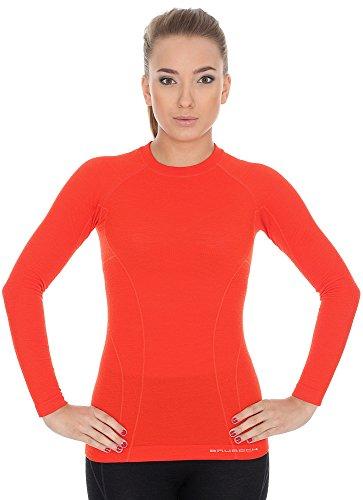 BRUBECK Damen Funktionsunterhemd | Langarm | atmungsaktiv | Thermo | Sport | Unterwäsche | 41% Merino Wolle | LS12810 S rot