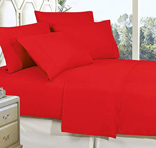 CELINE LINEN Best, Softest, Coziest Bed Sheets Ever! 1800 Thread Count Egyptian Quality Wrinkle-Resistant 4-Piece Sheet Set with Deep Pockets 100% Hypoallergenic, Queen Red