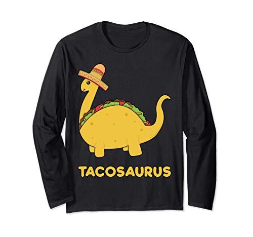 Cool & Funny Tacosaurus Taco Dinosaur Gift Tee Disfraz para Manga Larga