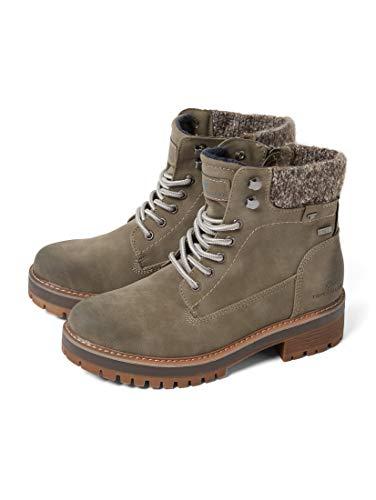 TOM TAILOR für Frauen Schuhe Schnürstiefel mit Stoff-Einsatz mud, 39