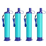 SimPure Water Filter Straw, Portable Survival Straws with 0.1 Micron 4-Stage Integrated Water Purifier, Outdoor Survival Gear for Camping Hiking Climbing and Emergency(Blue-4P)
