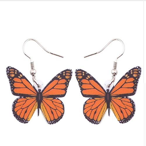 XCWXM Ohrringe Acryl Anhänger Anhänger Schmetterling Ohrringe Anhänger Versandzubehör Weibliche Insekten, B