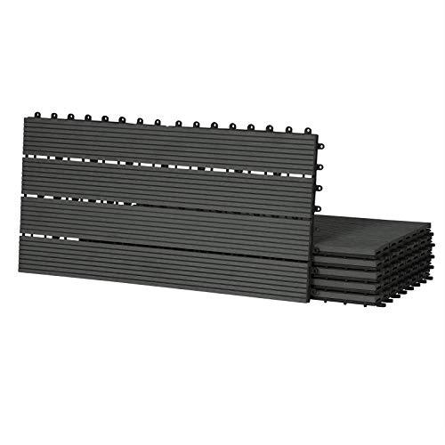 Laneetal 12Pcs Piastrelle Da Esterno Incastrabili Per Pavimenti Pavimentazione In WPC Per Giardino Terrazza Patio 2M² Colore Antracite 0360021Z