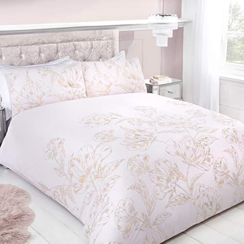 Sleepdown Metallic Floral Blush Soft Easy Care Duvet Cover Quilt Bedding Set with Pillowcases - Double (200cm x 200cm)