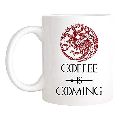N\A Taza Coffee is Coming, Taza de Juego de Tronos, Taza de café/Taza de té de cerámica de 11 oz