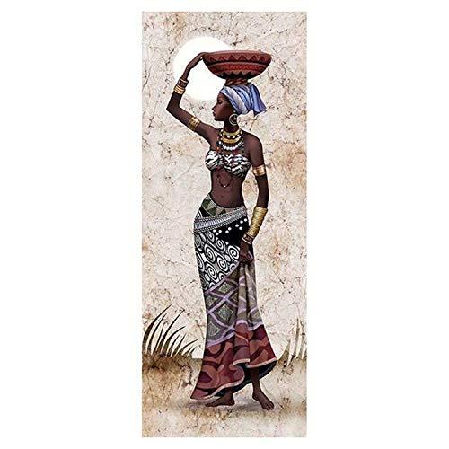HLPIGF Labor de Aguja Pintura de Diamante Bordado de Diamante Imagen de Diamante de Imitación Taladro Redondo Completo Decoración del Hogar, Canasta de Frutas en Cabeza de Mujer Africana