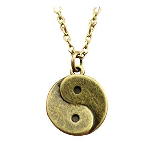 2 kleuren antiek brons, antiek zilver 15 * 15mm yin yang ketting