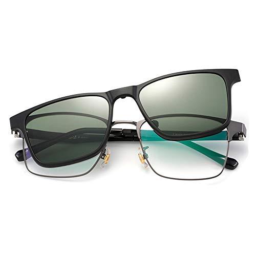 KLESIA 遠近両用 老眼鏡 サングラス クリップ付き 老眼鏡 ブルーライト 対応可 GZ (度数3.0, 黒)