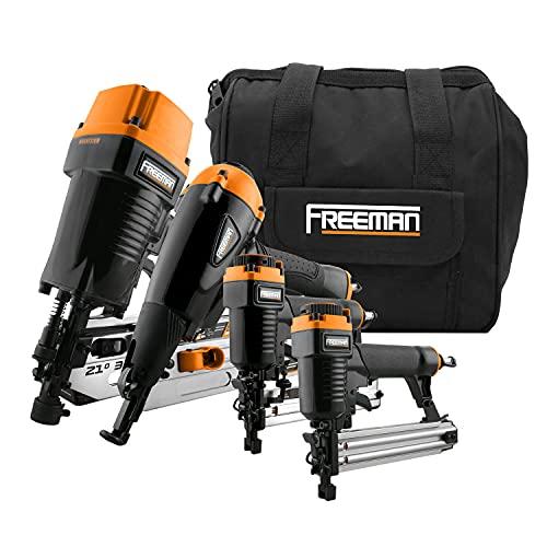 Freeman P4FRFNCB Pneumatic Framing & Finishing Combo Kit with Canvas Bag (4Piece) Nail Gun Set with Framing Nailer,...
