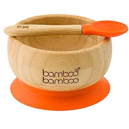 bamboo bamboo ® Baby Suction Bowls and Matching Spoon Set, Stay Put Feeding Bowl, Natural (Orange)