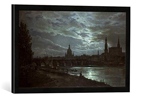 Gerahmtes Bild von Johann Christian Clausen Dahl Blick auf Dresden bei Vollmondschein, Kunstdruck im hochwertigen handgefertigten Bilder-Rahmen, 60x40 cm, Schwarz matt