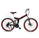 SHIN Bicicleta Btt 27' Mountain Bike Plegable Unisex Adulto Aluminio Urban Bici Ligera Estudiante Folding City Bike,sillin Confort Ajustables,Capacidad 165kg,Doble Freno Disco/Black Red /