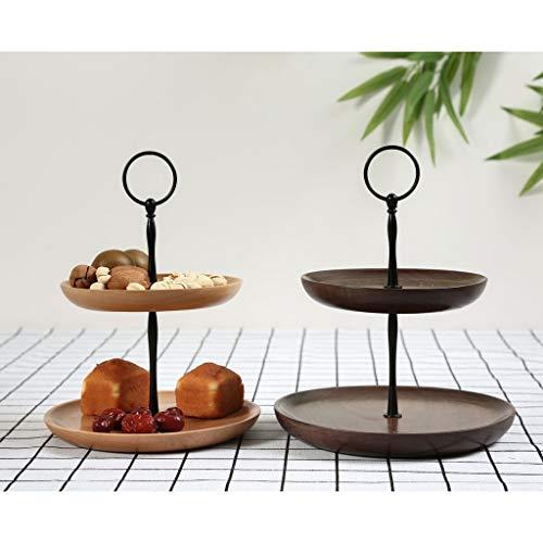 カップケーキスタンドケーキスタンドデザートペストリーケーキタワー木製2種選べる-ビーチウッド