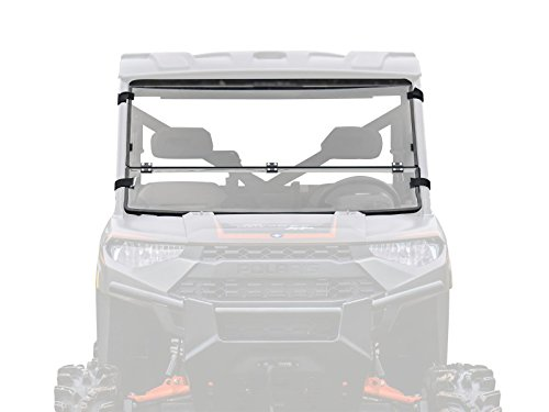 SuperATV Heavy Duty Flip/Fold Down 3-IN-1 Windshield for Polaris Ranger Full Size XP 1000 / Diesel/Crew (2015+) - Clear Standard Polycarbonate (Non Hard Coated)