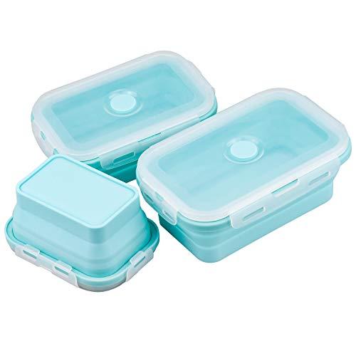Demason Faltbare Frischhaltedosen, 3 Stück Frischhalteboxen Silikon Zusammenklappbaren Container Brotdosen für Mikrowellen, Kühlschränke, 350ML500ML 800ML (Blau)
