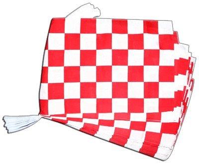 Digni Grande Guirlande 12 Drapeaux Damier Rouge-Blanc - 30 x 45 cm / 8,9 m Sticker Gratuit