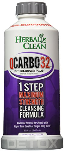 Herbal Clean QCarbo32 One-Step Same-Day Detox Drink - Herbal Supplement Advanced Super Detoxifying Solution - Grape Flavor (32 Oz)