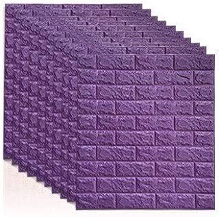 TTJ72K 7077 3D Brick Wall Stickers DIY Self Adhensive Decor Foam Waterproof Wall Covering Wallpaper for TV Background Kids Living Room-Purple-1pcs70 X 7.5X 0.55cm