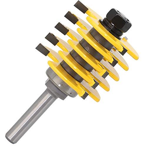 Zkenyao-Router bit Ajustable 5 Blade - 3 Flauta - Cortador de tenón de bits de vástago de 8'para Herramientas de carpintería, 1pc, Utilice Seguridad confiable
