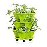 Jorzer Maceta 3D superpuesta Maceta de Fresa de múltiples Capas Maceta de plástico Maceta Maceta Soporte para macetas para Uso en Interiores y Exteriores Fresa Planter Pot, PlasticThree Verdes