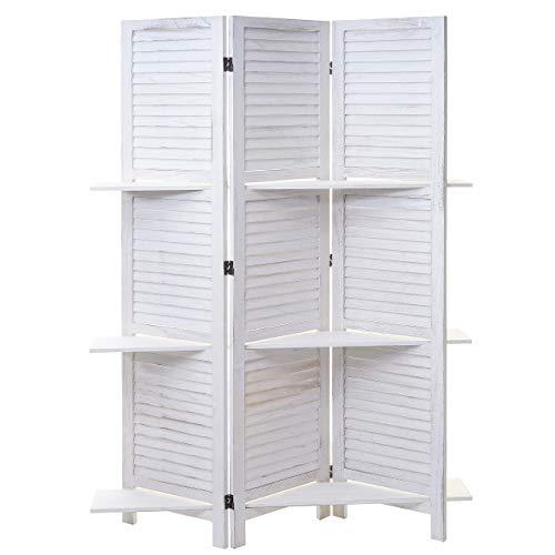 Mendler Paravent Yvelines, Trennwand Raumteiler mit Regalböden 170x125cm, Shabby Look - weiß/weiß