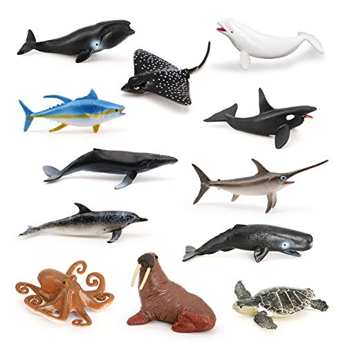 Volnau Mini Sea Creature Toys 12PCS Ocean Miniature Animal Figurines for Toddlers Kids Birthday Plastic Fish Toys Figures Preschool Pack and Bath Sets Orca Great White Shark Turtle