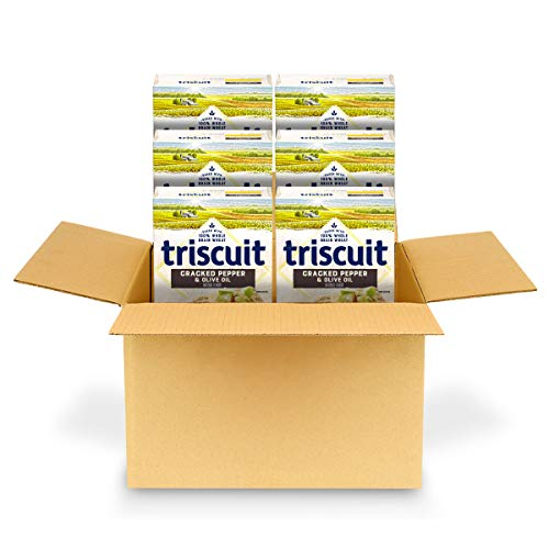 Triscuit Cracked Pepper and Olive Oil Crackers, Non-GMO, 8.5 Ounce, Pack of 6