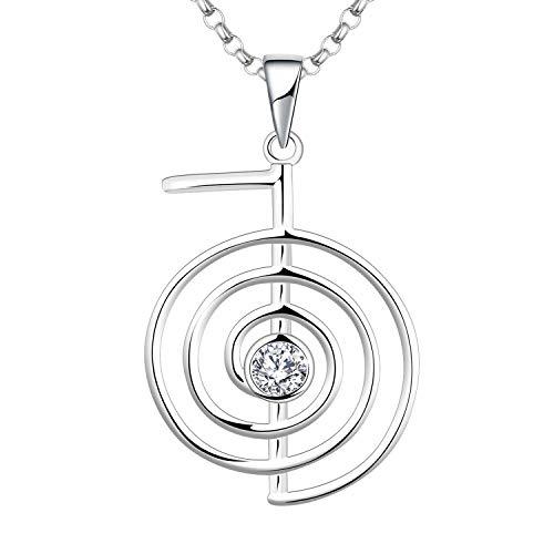 JO WISDOM Collar Reiki Cho Ku Rei Plata de ley 925,Colgante Curación Energía Yoga Power con AAA circonita Piedra natal de Abril