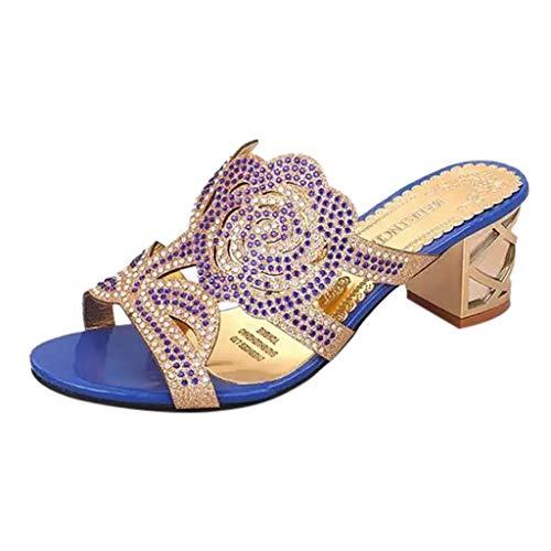SANFASHION Damen Sommer Sandalen Mode Casual Kristall Outdoor Hausschuhe Platz Ferse Schuhe Mesh Slingback Schlappen