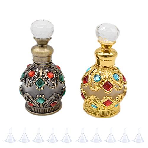 Hosh 2 Piezas Botella de Perfume Retro, Frascos de Perfume de Vidrio Metálico, Botella de Perfume Vacía Vintage, Puede Contener 15 ml, con 10 Embudos (Pátina Dorada y Cian)
