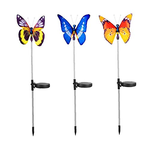 Garden Stake Lights Solar Fiber Optic Outdoor Multi-Color Changing Waterproof for Pathway Lawn Patio 3PCS