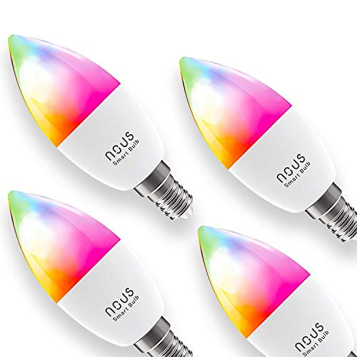Nous P4 Smart WLAN LED Lampe Glühbirne E14 RGB Birne Kompatibel mit Alexa Echo Google Home Assistant Kein Hub Erforderlich Dimmbar Warmweiß bis Tageslicht 4,5 W 2700K-6000K 380LM (4er Pack)