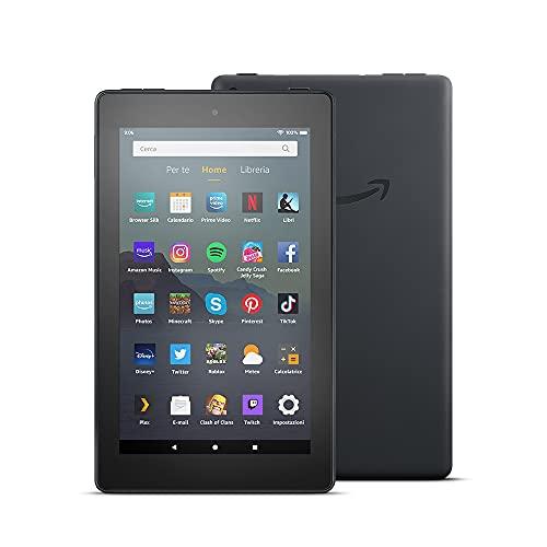 Tablet Fire 7, schermo da 7 , 16 GB, (Nero) - Con pubblicità