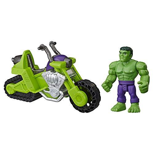 Hasbro E6225EU4 Heroes Marvel Super Hero Adventures Hulk Schmetter Bike, 12,5 cm große Figur mit Motorrad, für Kinder ab 3 Jahren