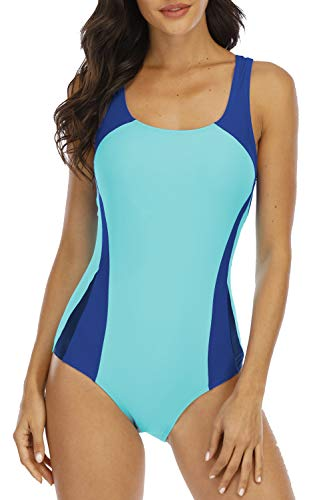 Halcurt Women One Piece Water Aerobic Swimsuit Chlorine Resistant Bathing Suit M Turquoise/Blue