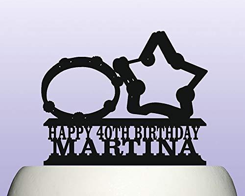 Decoración para tarta de cumpleaños con forma de pandereta acrílica personalizada