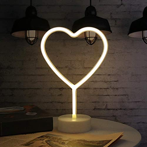LED en forma de corazón Neon Night Lights Warm White White Lámpara de neón USB y batería Signo de boda Empolleado Signo de boda Novedad Lámparas de interior Decoración Fiesta de cumpleaños Fiesta de N